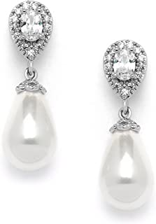 Glass Pearl Drop Clip On Earrings with Pear-Shaped CZ Halos for Wedding, Bridal, Formal & Fashion