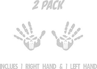 All About Families Two Jeep Wave Hands with Skull ~ Reflective ~ Fits Jeep Wrangler JK CJ TJ YJ ~ Pair Left and Right ~ Die Cut 3M Vinyl Decal Sticker CAR Truck Decal with Alcohol PAD ~ 5