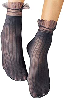 Womens Lace Ankle Socks 5 Pack Sexy Ultra Thin Short Socks With Trimmed Ruffle Fishnet Lace Liner Stockings