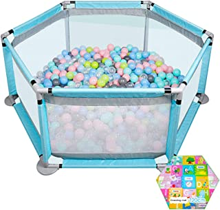 SXXDERTY-playard Portable Play yard Play Pen for Infants and Babies Lightweight Mesh Baby Playpen Kids Activity Centre Safety Play Yard with crawling mat Random pattern  and marine ball