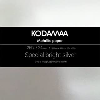 """KODAMAA 12""""x12"""" Square Art Craft Gold/Silver Cardstock, Multipurpose Shimmer Metallic Paper Perfect for Festival Crafting,..."""