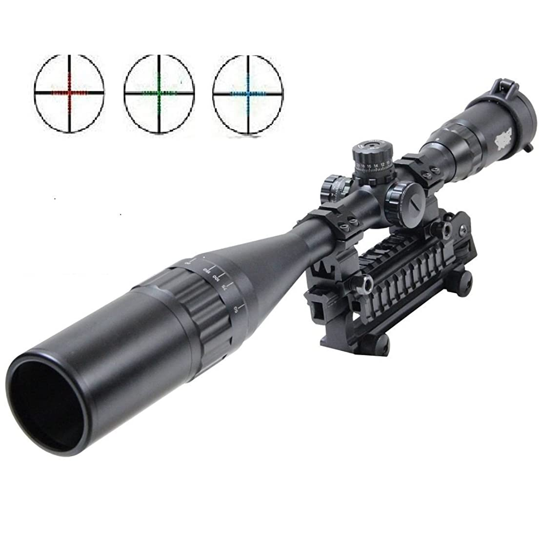 UUQ 4-16X50 & 6-24X50 AOL Hunting Rifle Scope W/Front AO Adjustment, Red/Blue/Green Mil-dot Reticle, Heavy Duty Ring Mounts & Flip Up Scope Covers & Extended Sunshade