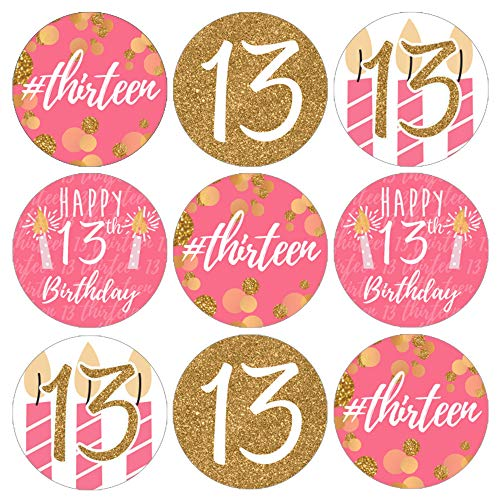 Girls 13th Birthday Party Favor Stickers - Pink and Gold - 180 Labels
