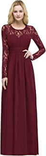 Women's Elegant O Neck Long Sleeve Evening Party Dress