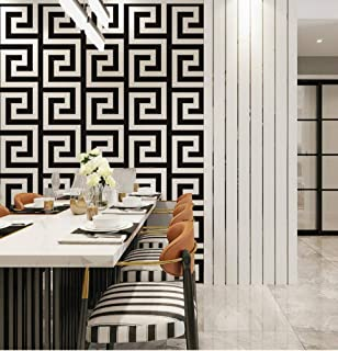 Jiaquhome Black and Gold Geometric Wallpaper Rolls Black White Luxury Large Greek Key Wall Papers Home Decor Wallpaper for Living Room,B,0.5310m