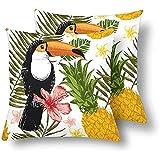 Tukan Vögel Palmblättern Ananas Blume Dekokissen Abdeckungen 18 x 18 Set von 2, Kissen...