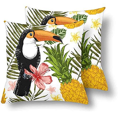 Tukan Vögel Palmblättern Ananas Blume Dekokissen Abdeckungen 18 x 18 Set von 2, Kissen Kissenbezüge Kissenbezug für Home Couch Sofa Bettwäsche