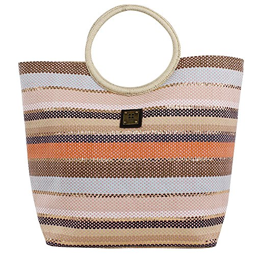 For Time Bolso de mano rafia multicolor - Borse da spiaggia Donna, Multicolore (Multicolor), 1x37x49 cm (W x H L)
