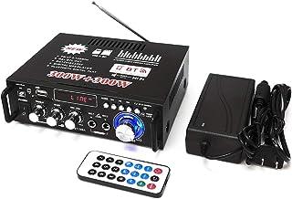 2ch高出力オーディオアンプ コンパクトサイズ 実効最大出力300W+300W Bluetooth接続対応 USB/SDカード再生可 Hi-Fiステレオパワーアンプ マイク入力可 12V 5Aアダプター付属 FMTLP298A