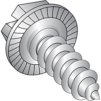 Plain Finish #10-16 Thread Size Slotted Drive Type AB Pack of 25 18-8 Stainless Steel Sheet Metal Screw Hex Washer Head 1 Length