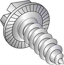 """18-8 Stainless Steel Sheet Metal Screw, Plain Finish, Serrated Hex Washer Head, Slotted Drive, Type AB, 1/4""""-14 Thread Size, 1-1/4"""" Length (Pack of 10)"""