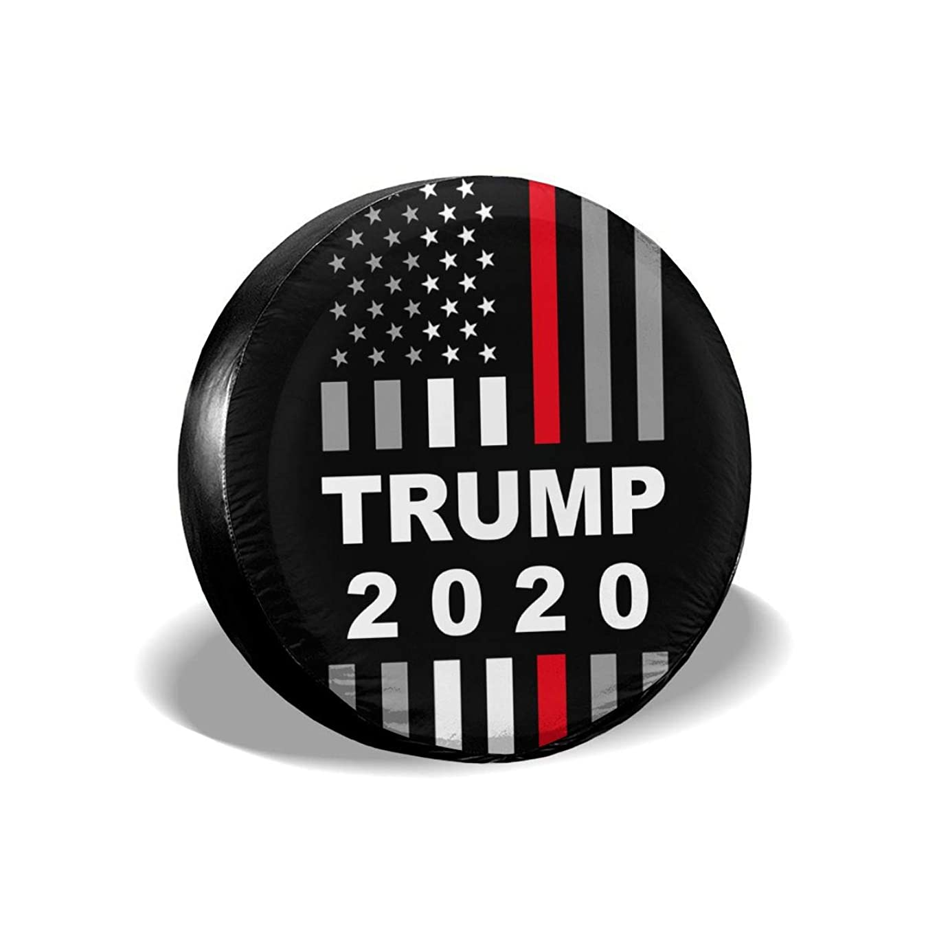 PINE-TREE-US Trump 2020 USA Thin Red Line Flag Spare Wheel Tire Cover Waterproof Dust-Proof Fit for Trailer, RV, SUV and Many Vehicle 14