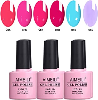 AIMEILI Neon Gel Nail Polish Set Soak Off UV LED Gel Polish Multicolour/Mix Colour/Combo Colour Of 6pcs X 10ml - Gift Kit 12