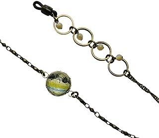 Tamarusan Eyewear Chain Mother Of Pearl Turquoise Glass Cord Unisex Handmade