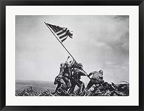 Flag Raising on Iwo Jima, February 23, 1945 by Joe Rosenthal Framed Art Print Wall Picture, Black Frame, 33 x 26 inches