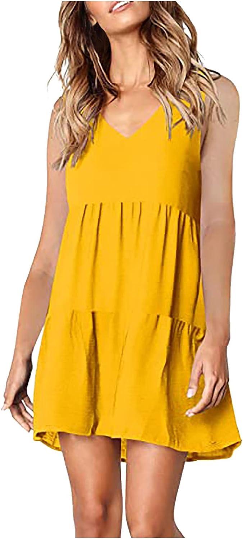 A2A Cute Shift Dress for Women Summer Casual Bell Long Sleeve Ruffle Hem Sundress V Neck Loose Swing Tunic Mini Dress