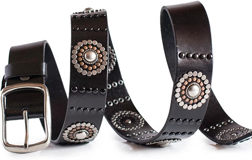 Womens Black Leather Jeans Belt with Studs