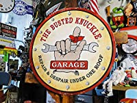 【110215】アメリカンガレージ好きから絶大な人気バステッドナックルガレージのU.S.ヘヴィースチールサイン(ラウンドタイプ/L)/看板
