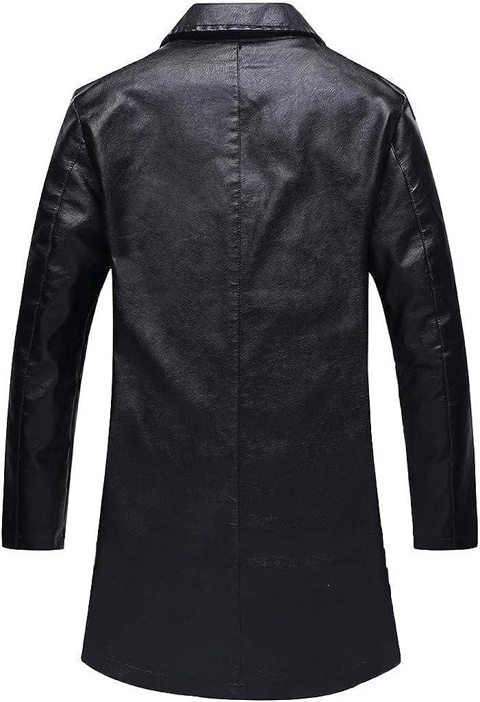 TIMEMEANS Manteau Hommes Grands Manteaux De Cuir Moyens Et Longs Manteau Chaud Nouveau Style Chaud
