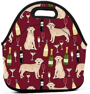 黄色ラボワインラブラドールレトリーバー犬犬ルビーランチバッグ断熱サーマルランチトートアウトドア旅行ピクニックキャリーケースランチボックスハンドバッグ付きジッパー