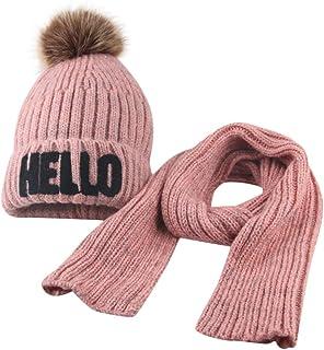 Goenn 幼児の女の子の男の子の秋の冬のかぎ針編みの帽子ビーニーポンポンキャップスカーフセット