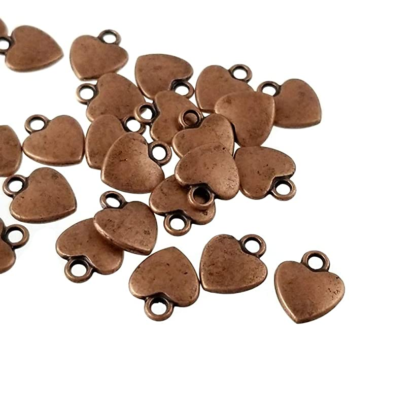Antique Copper Small Metal Heart Charms for Jewelry Making, Bracelets- Lead, Nickel Free (12mm)