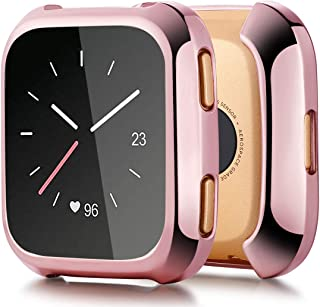 JuQBanke Screen Protector Compatible for Fitbit Versa 2, Shockproof Soft TPU Protective Case, Scratch Resistant Cover for Fitbit Versa 2 Smart Watch(Rose Pink)