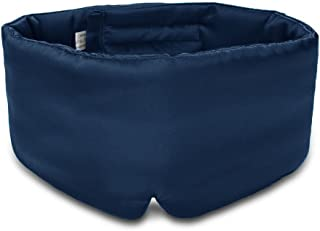 100% Mulberry Silk Sleep Mask Eye Mask for Man and Woman with Adjustable Headband, Full Size Large Sleep Mask & Blindfold for Total Blackout for All Night Sleep, Travel & Nap- Navy Blue