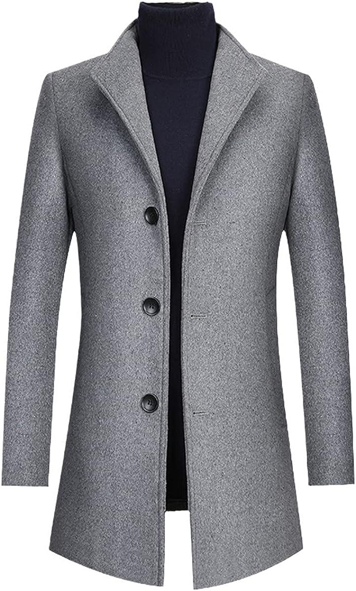 Men's Wool Blend Coat Fashionable Winter Jacket Coat Woolen Coat European Windbreaker