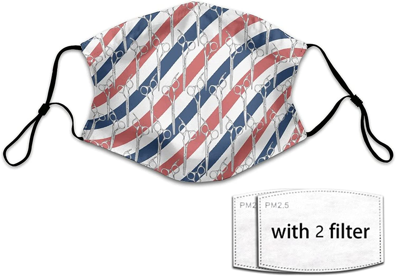 NiYoung Adults Men Women American Flag Stripes Barber Shop Tools Scissors Protective Masks Scarf with 2 Filters, Adjustable Anti Dust Windproof Bandanas Balaclava Face Cover