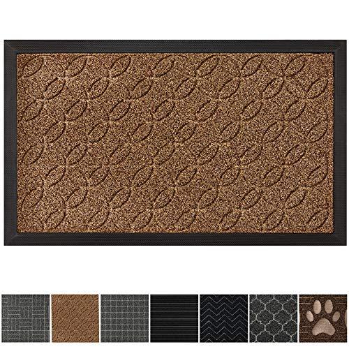"Grip Master Durable, Tough All-Natural Rubber Indoor Outdoor Door Mat, Extra Large (29"" x 17"") Boot Scraper, Inside or Outside Entryway Front Door, Waterproof, Low-Profile, Easy-to-Clean (Beige)"