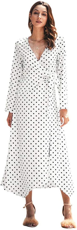 Dresses Women's VNeck Long Sleeve Wrap Wave Point Dress Evening Party Dresses Prom Long Maxi Dress (color   White, Size   S)