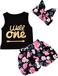 OBEEII First Birthday Baby Girl Floral one Romper Tutu Skirt Clothes 2pcs Outfits for Newborn Infant Toddler