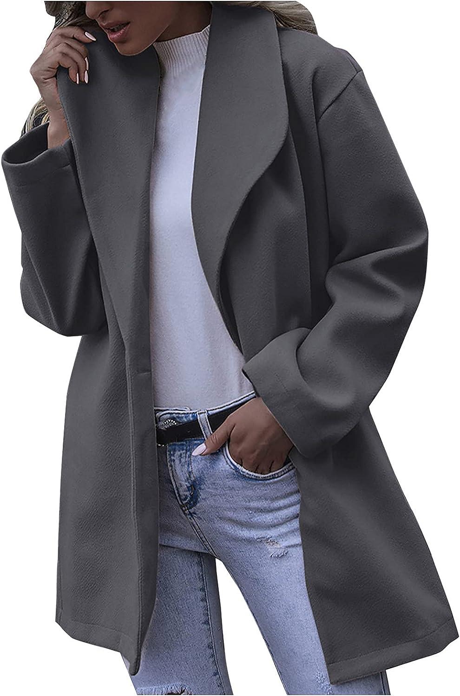 Sunmaote Solid Women Cardigan Coat Fashion Casual Lapel Jacket Loose Fit Long Outwear Plus Size