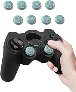 Fosmon (4 Pairs / 8 Count) Analog Stick Joystick Controller Performance Thumb Grips for Xbox One S   PS4   PS3   Xbox One   Xbox 360   Wii U   Wii Nunchuk - White/Green (Glow-in-the-Dark)