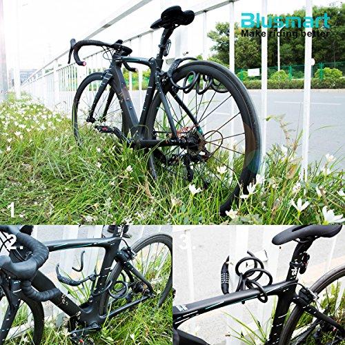 Fahrradschloss, Blusmart Fahrrad Sicherheitsschloss mit 5 stelligem intelligentem Code und Fahrradhalterung, 1,8 m lang - 9