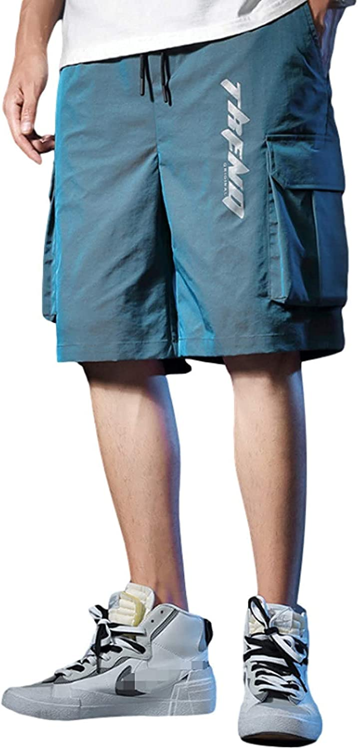 Men's Relaxed Reflective Cargo Shorts Fashion Trend Streetwear Stitching Blue