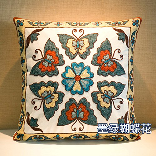 Baozengry Oreillers Et Coussins Brodés Lit Bureau Canapé Coussin Voiture Coussin De Dossier Taille,45X45Cm (Coeur), Contenant Des Fleurs Papillons (Vert Foncé)