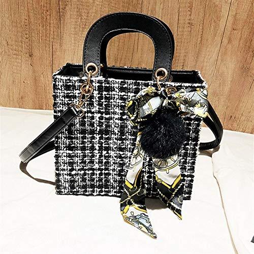 Frauen Einkaufstasche Über Die Schulter Lady Fashion Schal Bogen Koreanische Frau Clutch Sling Shopper Taschen Weiblichen Designer-Handtaschen (Color : BK, Size : M)