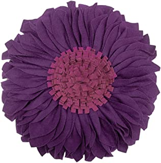 JWH Handmade 3D Flowers Accent Pillow Round Sunflower Cushion Decorative Pillowcase with Pillow Insert Home Sofa Bed Living Room Decor Gift 12 Inch / 30 cm Cotton Canvas Wool Solid Suede Purple