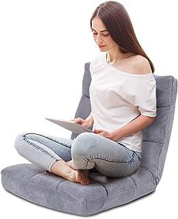 COSTWAY Sofá Perezoso Individual Plegable Asiento Cojín de Suelo con Respaldo Silla de Meditación (Gris)