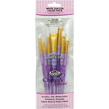 Royal and Langnickel Crafter's Choice Flat Taklon Variety Brush Set - White (Pack of 7)