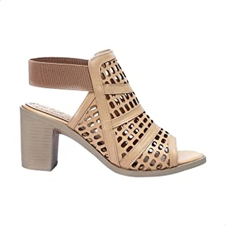Tony Faux Leather Elastic-Strap PerForated Block-Heel Sandals For Women