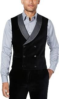 Tallia Men's Slim-Fit Velvet Double-Breasted Suit Vest, Black, 40 Regular