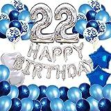 Decoración de fiesta de cumpleaños 22, globos de cumpleaños número 22, pancarta de feliz cumpleaños, globo de confeti de látex azul, suministros de decoración de cumpleaños para niños y niñas