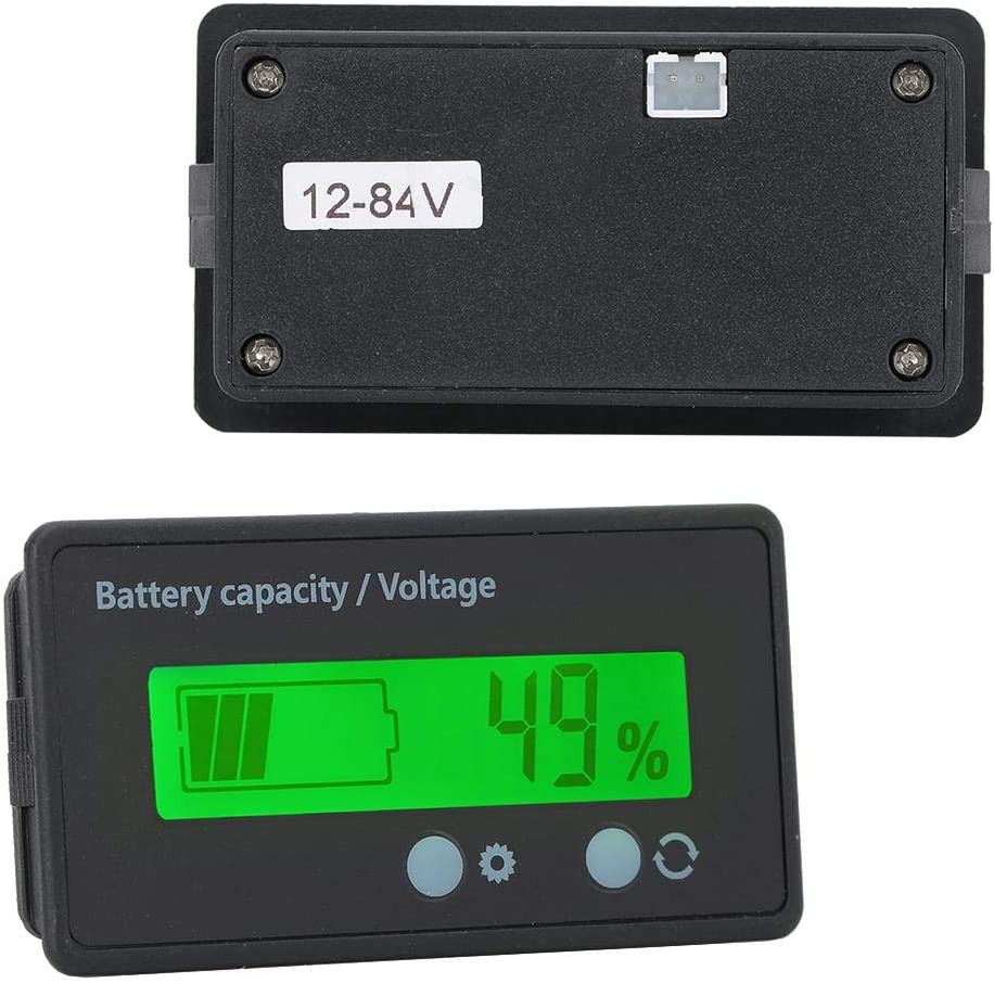 Compatible with Lead acid battery//lithium battery//iron lithium battery white Waterproof 12-84V Voltage Meter Monitor//Battery Capacity Tester LCD Digital Battery Capacity Monitor