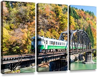 Fukushima Black Bridge Tadami River Japan3 Pieces Print On Canvas Wall Artwork Modern Photography Home Decor Unique Pattern Stretched and Framed 3 Piece