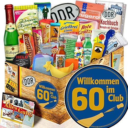 Wilkommen im Club 60 / Geschenkbox Ossi 24x Allerlei DDR / 60 Geburtstag Mama