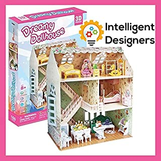 Build Wonderful Loving Memories With Our Best Dreamy Dollhouse 3D Puzzle - A Perfect Special & Fun Gift For Kids - Beautiful & Detailed - Easy to Assemble - No Glue or Scissor Needed - 160 Pieces