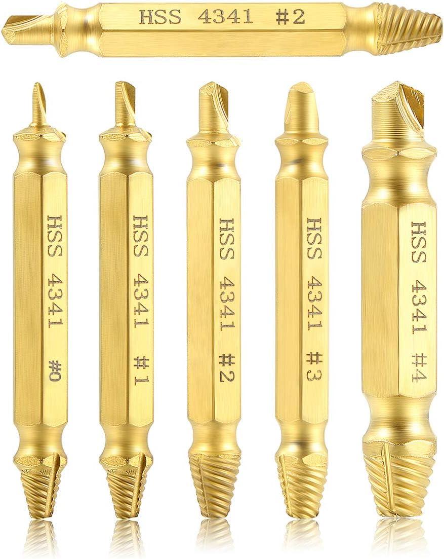 Estmoon 6 pcs Extractor de tornillos dañados Para EliminacióN De Roto O DañAdo Tornillos, Fabricado en Acero de Alta Velocidad - Recubrimiento de titanio